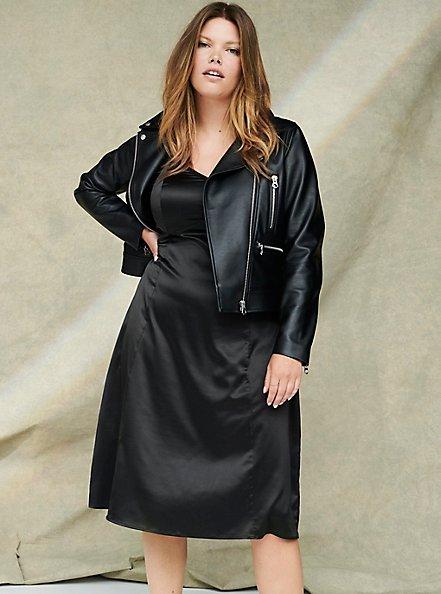 Black Satin A-line Slip Dress, DEEP BLACK, hi-res