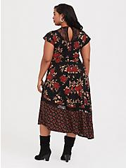 Black Lace & Studio Knit Floral Asymmetrical Midi Dress, FLORAL - BLACK, alternate