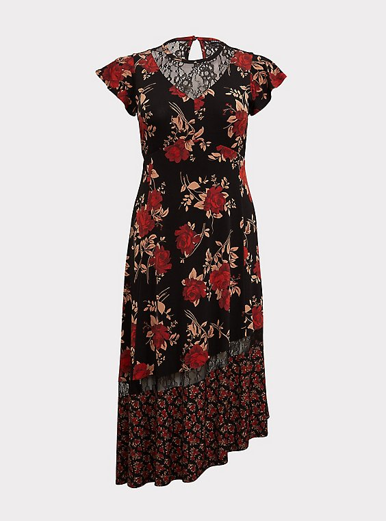 Black Lace & Studio Knit Floral Asymmetrical Midi Dress, , flat