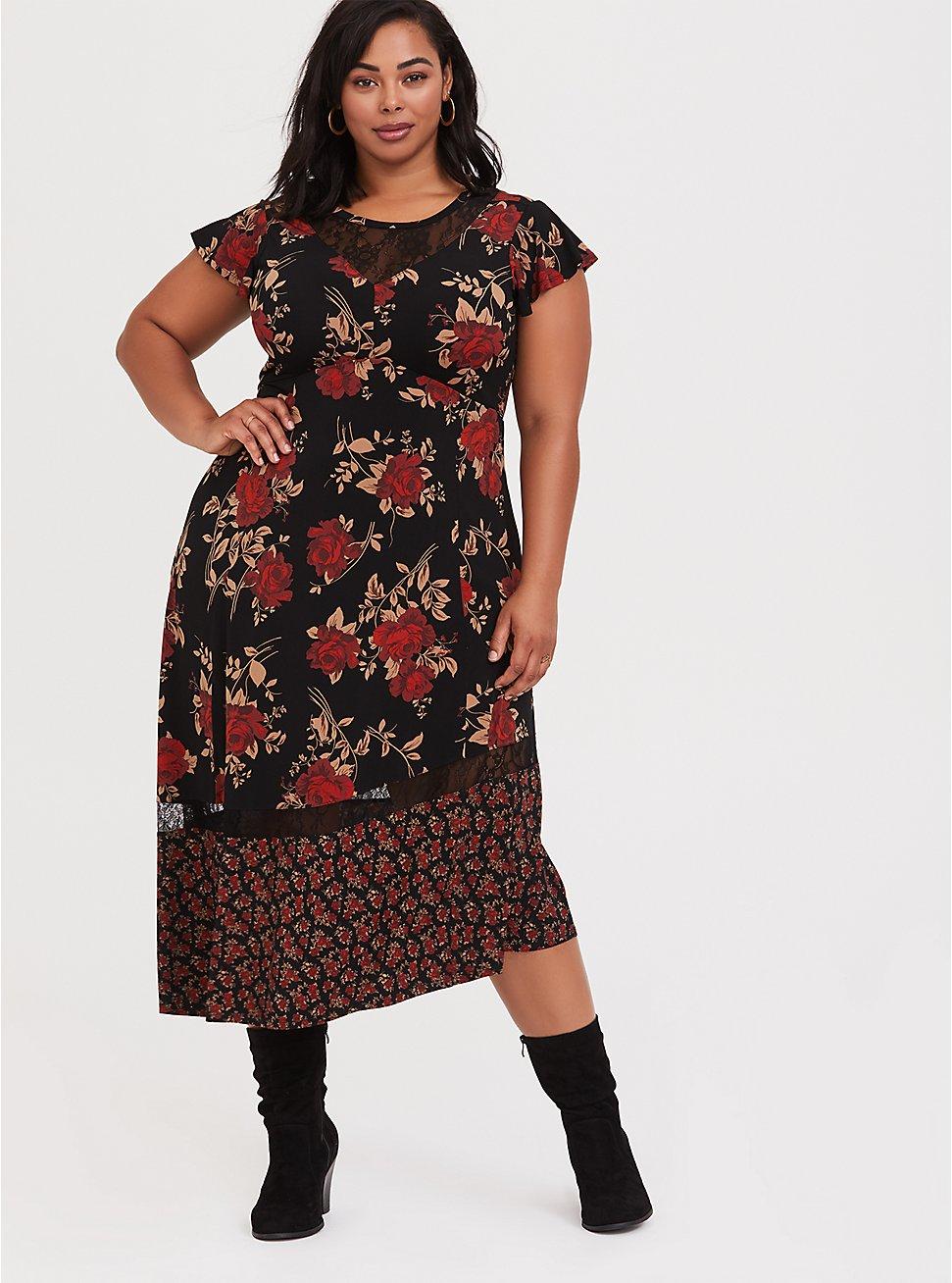 Black Lace & Studio Knit Floral Asymmetrical Midi Dress, FLORAL - BLACK, hi-res