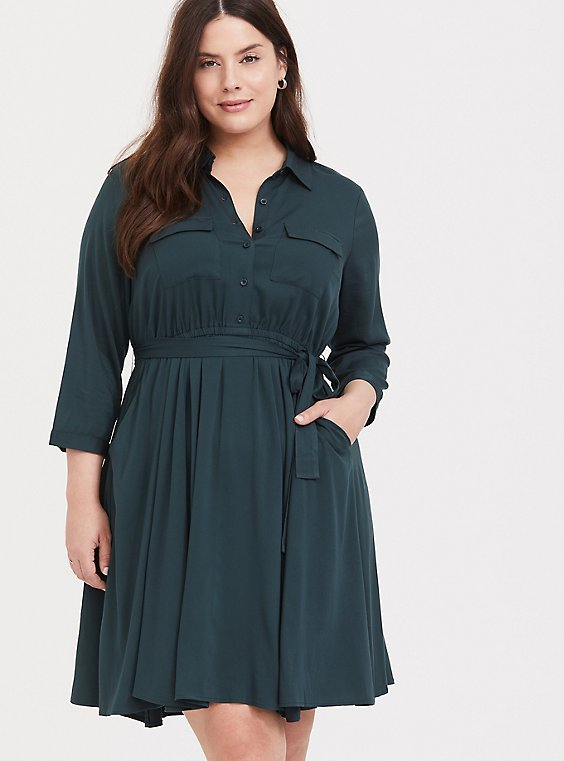 Green Challis Self-Tie Shirt Dress, , hi-res