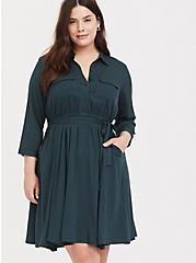 Green Challis Self-Tie Shirt Dress, GREEN GABLES, hi-res