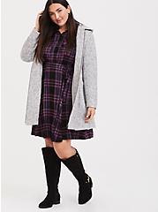 Plus Size Purple Plaid Challis Button Front Shirt Dress, PLAID - BLACK, alternate