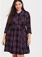 Plus Size Purple Plaid Challis Button Front Shirt Dress, PLAID - BLACK, hi-res