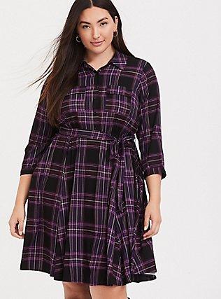 Purple Plaid Challis Button Front Shirt Dress, PLAID - BLACK, hi-res