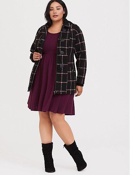 Super Soft Plush Burgundy Purple Babydoll Dress, HIGHLAND THISTLE, alternate