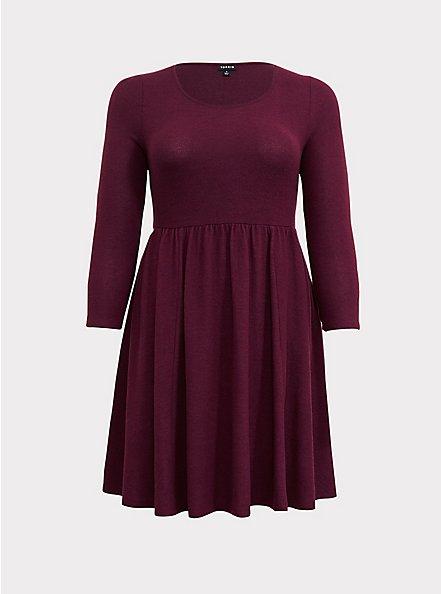 Super Soft Plush Burgundy Purple Babydoll Dress, HIGHLAND THISTLE, hi-res