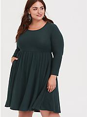 Super Soft Plush Dark Green Skater Dress, GREEN GABLES, alternate