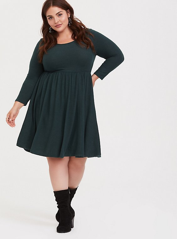 Super Soft Plush Dark Green Skater Dress, , hi-res