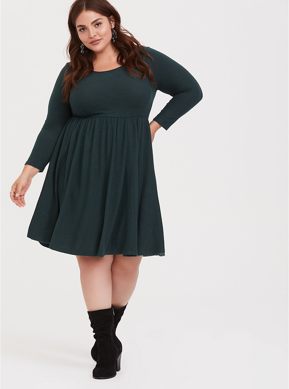 Super Soft Plush Dark Green Skater Dress, GREEN GABLES, hi-res