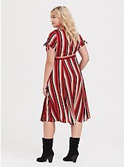 Red Multi Stripe Challis Button Front Shirt Dress, STRIPE - RED, alternate