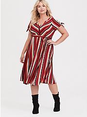 Red Multi Stripe Challis Button Front Shirt Dress, STRIPE - RED, hi-res