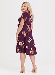 Burgundy Purple Floral Challis Button Front Shirt Dress, FLORALS-BURGUNDY, alternate