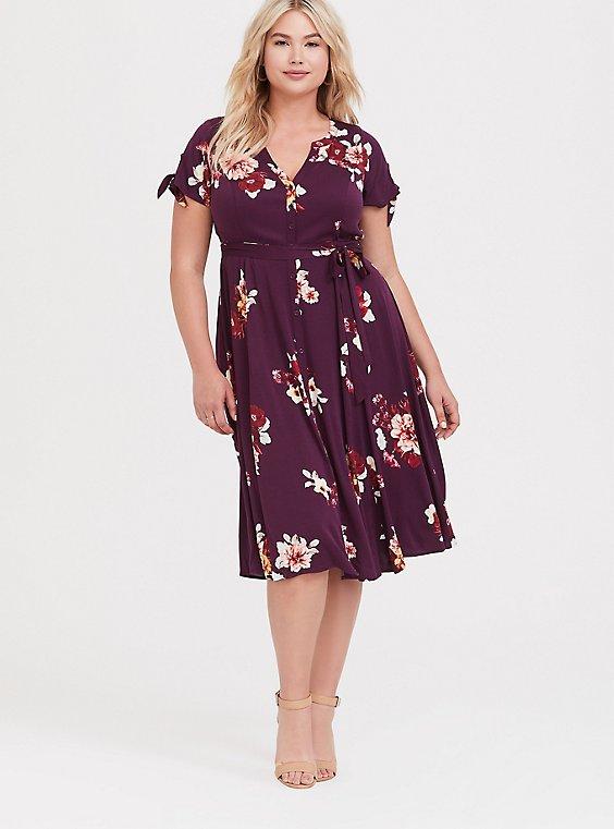 Burgundy Purple Floral Challis Button Front Shirt Dress, , hi-res