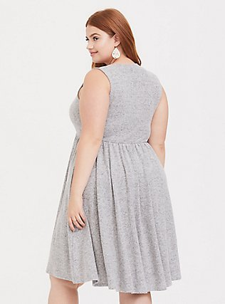 Super Soft Plush Light Grey Surplice Skater Dress, LIGHT HEATHER GREY, alternate