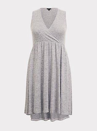 Super Soft Plush Light Grey Surplice Skater Dress, LIGHT HEATHER GREY, flat