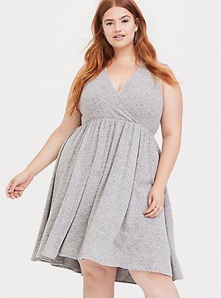 Super Soft Plush Light Grey Surplice Skater Dress, LIGHT HEATHER GREY, hi-res
