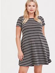 Grey & Black Striped Hacci Trapeze Dress, STRIPES-GREY, alternate