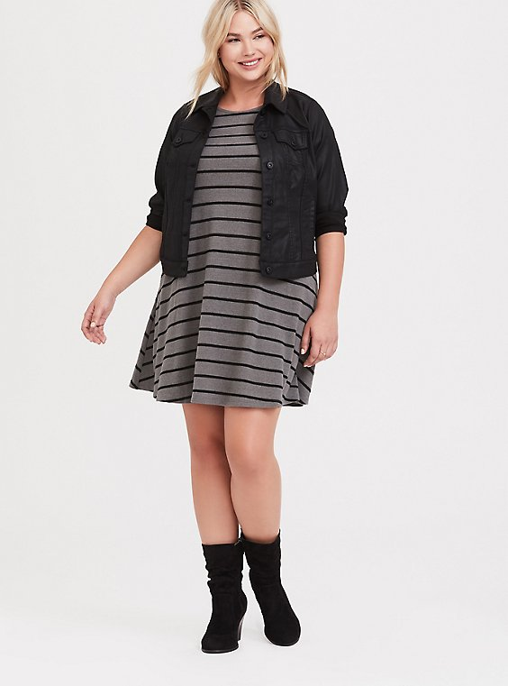 Grey & Black Striped Hacci Trapeze Dress, , hi-res