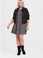Grey & Black Striped Hacci Trapeze Dress, STRIPES-GREY, hi-res