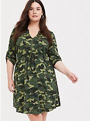 Camo Challis Zip Front Shirt Dress, CAMO-GREEN, alternate