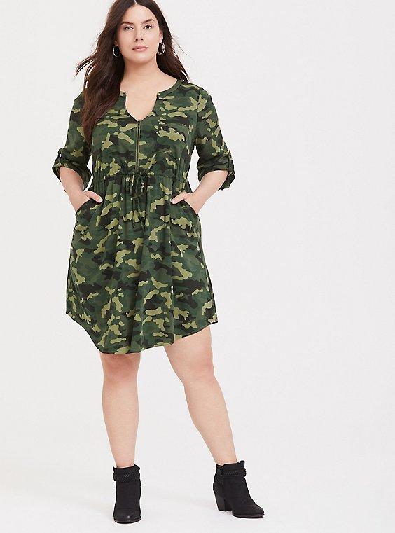 Plus Size Camo Challis Zip Front Shirt Dress, , hi-res