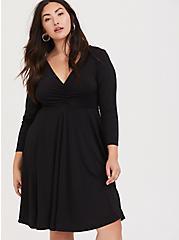 Black Studio Knit Cinch Skater Dress, DEEP BLACK, hi-res