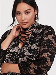 Black Lace Mock Neck Shift Dress, DEEP BLACK, alternate