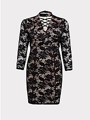 Black Lace Mock Neck Shift Dress, DEEP BLACK, hi-res