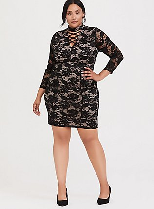 Black Lace Mock Neck Shift Dress, DEEP BLACK, hi-res