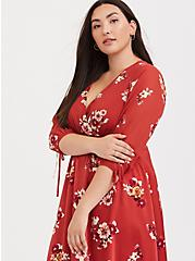 Plus Size Orange Floral Chiffon Midi Dress, FLORALS-ORANGE, alternate