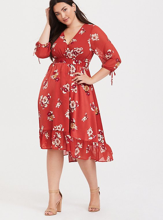 Plus Size Orange Floral Chiffon Midi Dress, , hi-res