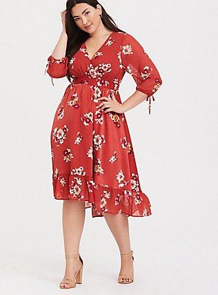 Orange Floral Chiffon Midi Dress, FLORALS-ORANGE, hi-res