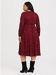 Black & Red Hearts Challis Midi Dress, HEARTS - BLACK, alternate