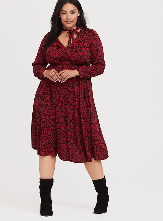 Black & Red Hearts Challis Midi Dress, , hi-res