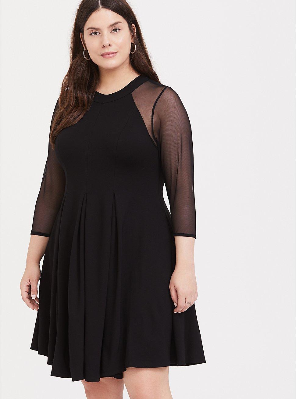 Black Premium Ponte & Mesh Fluted Dress, DEEP BLACK, hi-res