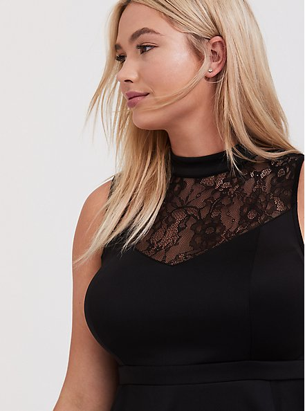Black Scuba Knit & Lace Skater Dress, DEEP BLACK, alternate