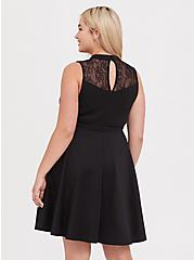Black Scuba Knit & Lace Skater Dress, DEEP BLACK, alternate