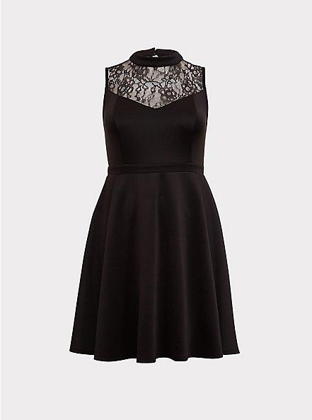 Black Scuba Knit & Lace Skater Dress, DEEP BLACK, hi-res