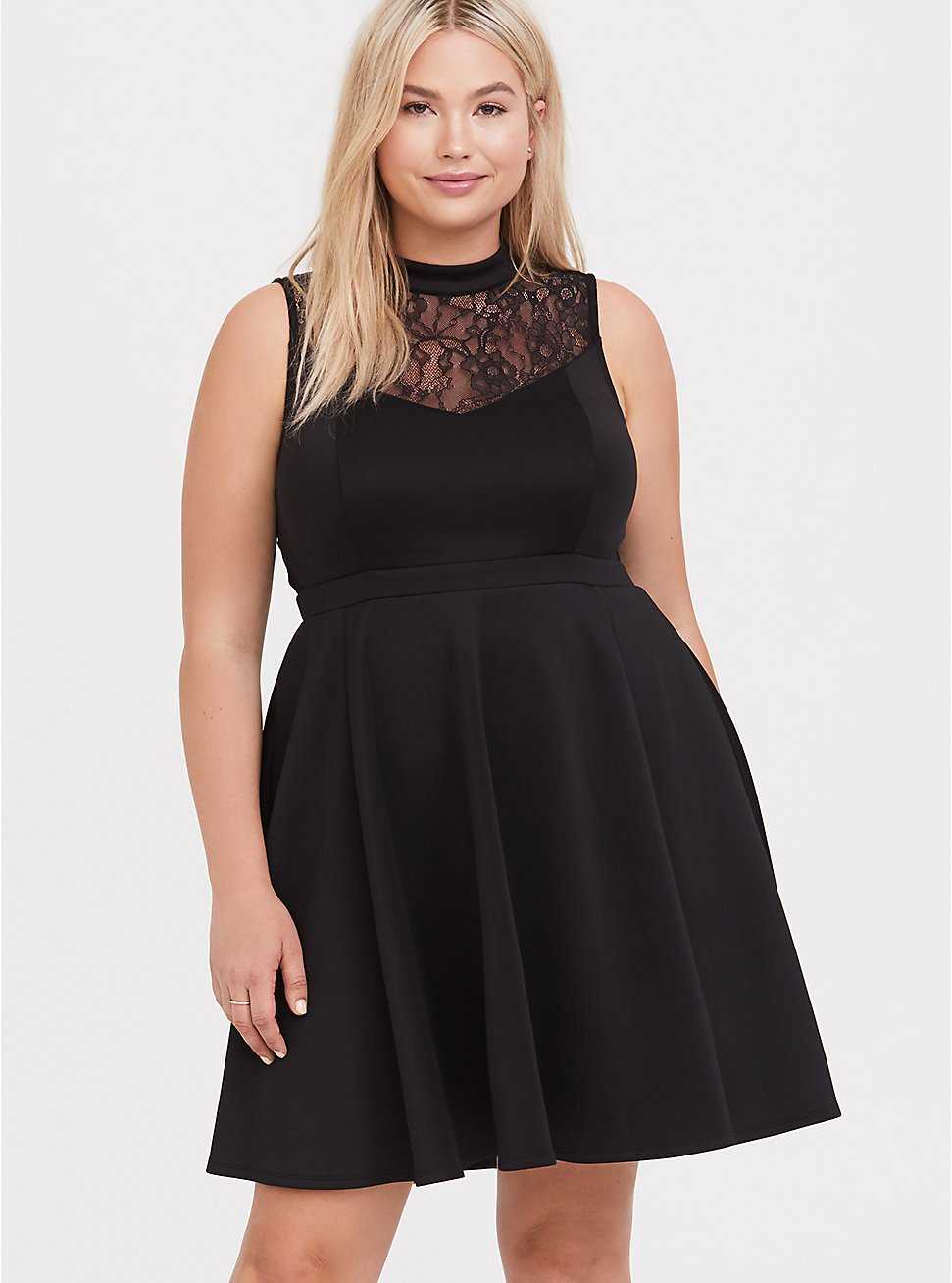 Black Scuba Knit & Lace Skater Dress, DEEP BLACK, hi-res