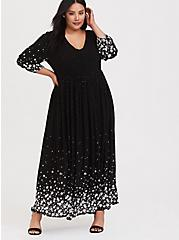 Black Swiss Dot Star Maxi Dress, STARS-BLACK, hi-res