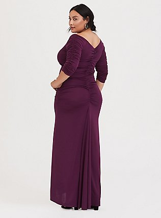 Plus Size Special Occasion Burgundy Purple Jersey Off Shoulder Gown, HIGHLAND THISTLE, alternate