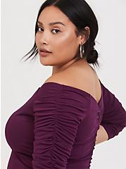 Special Occasion Burgundy Purple Jersey Off Shoulder Gown, HIGHLAND THISTLE, alternate