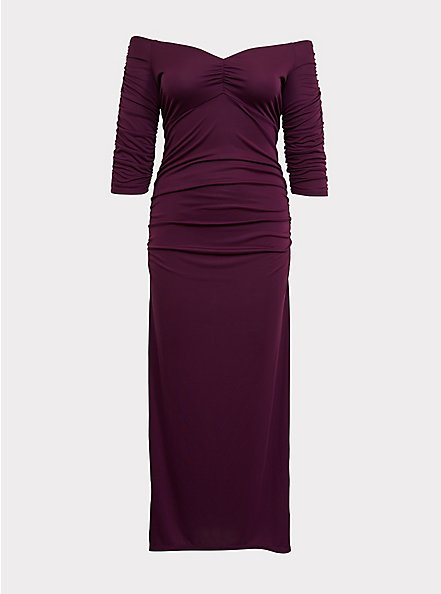 Special Occasion Burgundy Purple Jersey Off Shoulder Gown, HIGHLAND THISTLE, hi-res