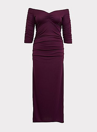 Plus Size Special Occasion Burgundy Purple Jersey Off Shoulder Gown, HIGHLAND THISTLE, flat