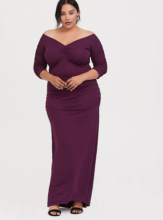 Special Occasion Burgundy Purple Jersey Off Shoulder Gown, , hi-res