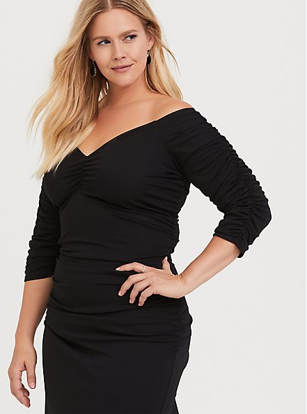 Plus Size Special Occasion Black Jersey Ruched Off Shoulder Gown, DEEP BLACK, alternate
