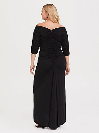 Special Occasion Black Jersey Ruched Off Shoulder Gown, DEEP BLACK, alternate