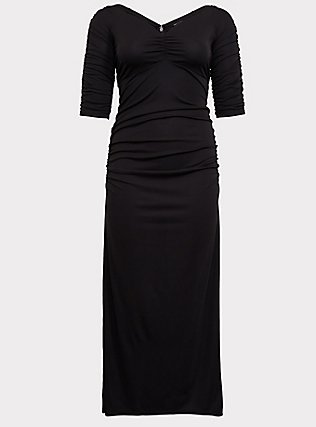 Special Occasion Black Jersey Ruched Off Shoulder Gown, DEEP BLACK, flat