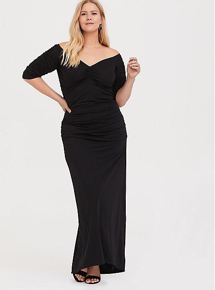 Plus Size Special Occasion Black Jersey Ruched Off Shoulder Gown, DEEP BLACK, hi-res